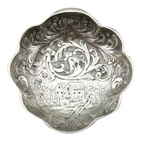 Antique Handmade Bowl with Gothic Landscape
