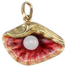 18K Enamel Clam Shell Charm