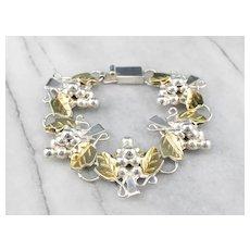 Bunch of Grapes Mixed Metal Link Bracelet