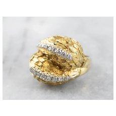 Bold 18 Karat Gold Diamond Ring