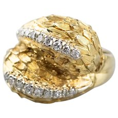 Bold 18 Karat Gold Diamond Ring
