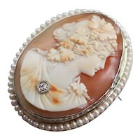 Cameo Habille Diamond Cultured Pearl Brooch Pendant
