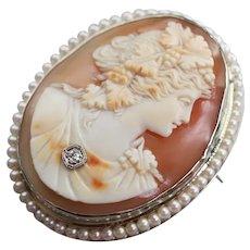 Cameo Habille Diamond Cultured Pearl Brooch Pendant