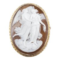 Vintage Cupid and Psyche Cameo Brooch Pendant