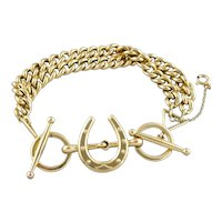 Vintage Horseshoe Chain Bracelet, Solid, Heavy and Weighty