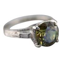 Art Deco Demantoid Garnet and Diamond Ring