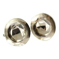 Vintage Faceted Domed Screw Back Stud Earrings
