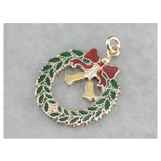 Vintage Enameled Holiday Wreath Pendant