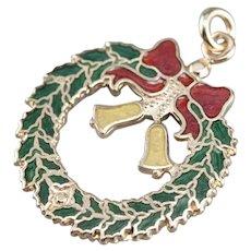 Vintage Enameled Holiday Wreath Pendant