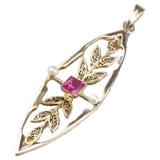 Antique Synthetic Ruby and Seed Pearl Lavalier Pendant