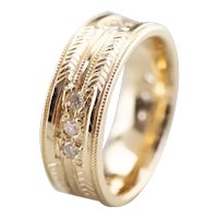 Etched High 18 Karat Gold and Diamond Band