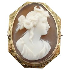 Goddess Diana Cameo Brooch with Crescent Moon in Fine 10K Gold Frame with Engraved Details