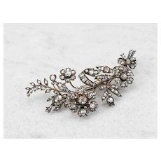 Stunning Old Mine Cut Diamond 1850s Floral Brooch