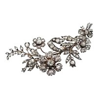 Stunning Old Mine Cut Diamond 1850s Floral Brooch
