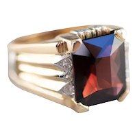 Men's Mid Century Garnet and Diamond Ring