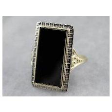 Upcycled Black Onyx Dinner Ring