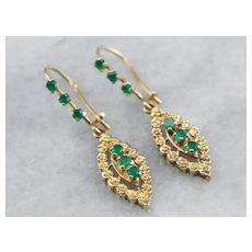 Vintage Green Onyx Ornate Drop Earrings