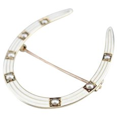 Antique Cultured Seed Pearl Horseshoe Brooch