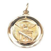 Vintage 10 Karat Yellow Gold Military Medallion