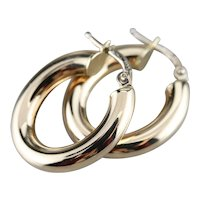 Vintage Italian 14 Karat Gold Hoop Earrings