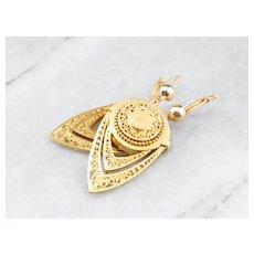 Etruscan Style 18 Karat Gold Drop Earrings