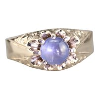 Upcycled Ornate Star Sapphire Unisex Ring