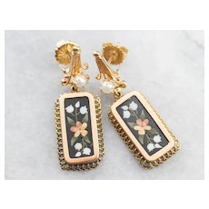 Antique Pietra Dura Floral Mosaic Drop Earrings