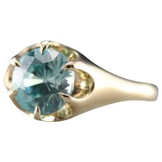 Unisex Blue Zircon Belcher Set Upcycled Ring