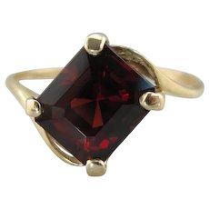 Deep Red Garnet Cocktail Ring, Emerald Cut Unique Design