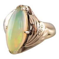 Upcycled Opal Solitaire Ring in 14 Karat Rose Gold