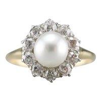 Cultured Pearl Old Mine Cut Diamond Halo Ring