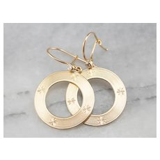 Etched Circle Diamond Crop Earrings