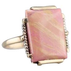 Retro Pink Jasper Cabochon Ring