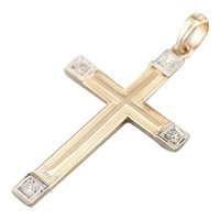 Retro Two Tone 14 Karat Gold and Diamond Cross