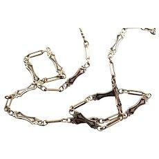 Antique Gothic Enamel Pocket Watch Chain