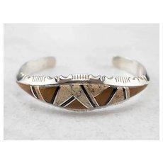 Navajo T. Etsitty Stone Inlay Cuff Bracelet