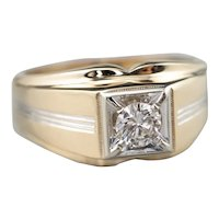 Vintage Men's Diamond Two Tone Ring