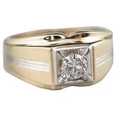 Vintage Men's Diamond Two Tone Ring