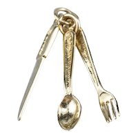 Vintage Fork Spoon and Knife Cutlery Charm