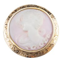 Sweet Vintage Pink Shell Cameo Brooch