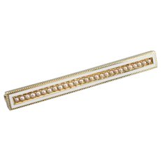 Art Nouveau Seed Pearl Bar Pin