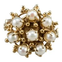Victorian Revival Cultured Pearl Cocktail Ring