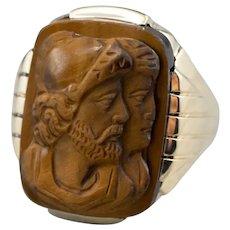 Men's 1930's Tiger's Eye Cameo Ring