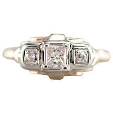 Vintage Retro Era Three Stone Diamond Ring with Great Shine