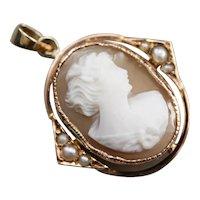 Vintage Seed Pearl Cameo Pendant