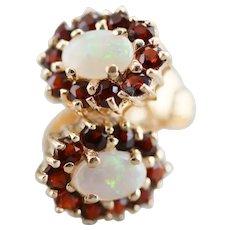 Opal and Garnet Halo Stud Earrings