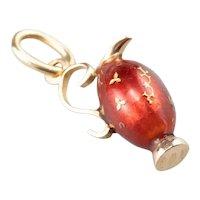 Ornate Red Enamel Vase Charm