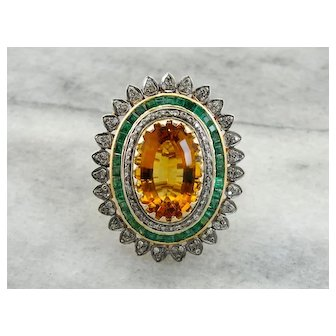 Jaw Dropping Citrine, Diamond and Emerald Statement Ring