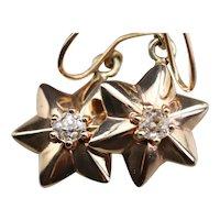 Victorian Stars Old Mine Cut Diamond Drop Earrings