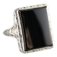 Art Deco Black Onyx Filigree Statement Ring